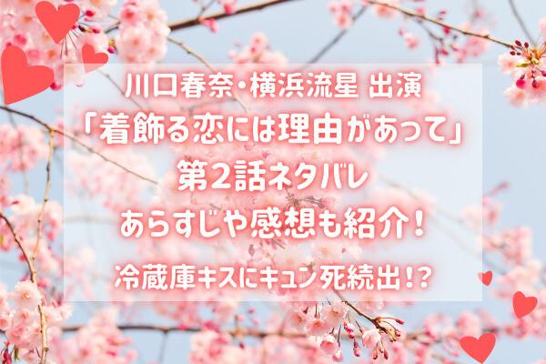 【着飾る恋には理由があって】2話ネタバレ|冷蔵庫キスにキュン死続出!